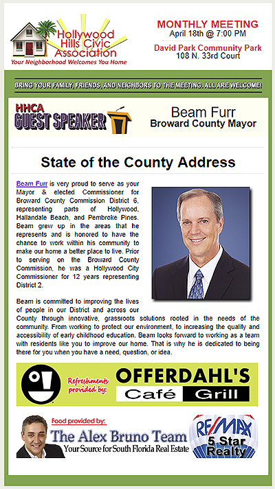 Broward County Mayor, Beam Furr and the State of the County Address